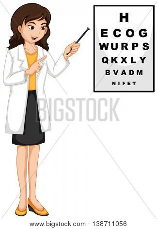 Ophthalmologist pointing at the reading chart illustration