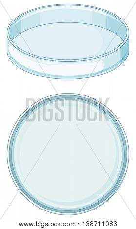 Empty glass tray used in science lab illustration