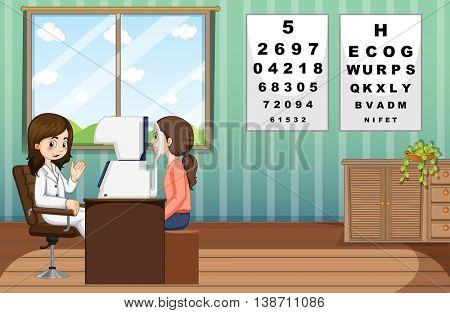 Eye doctor giving treatment to patient in clinic illustration