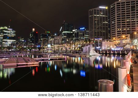 16 July 2016: Darling Harbour Sydney AUSTRALIA: iceberg installation for the Cool Yule Festival