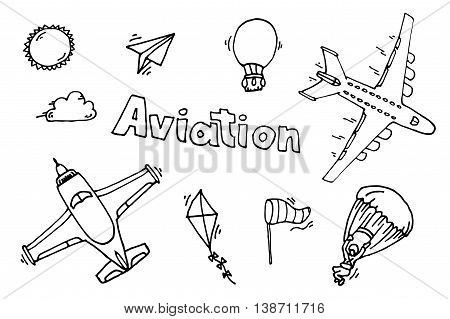 Aviation icons set. Vector illustration, EPS 10