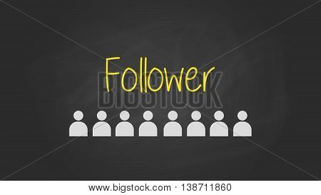 followers sign text written on the blackboard with user icon vector graphic illustration
