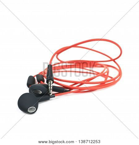 Pair of red headphones isolated over the white background