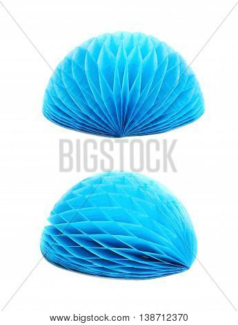Blue honeycomb pom-pom paper ball decoration isolated over the white background, set of two different foreshortenings