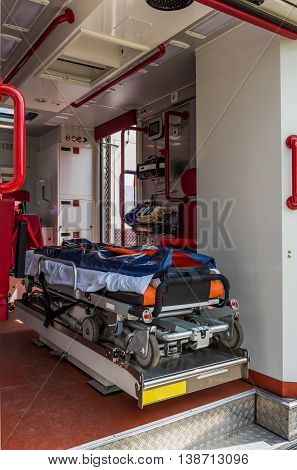 Ambulance vehicle with interior view and stretcher