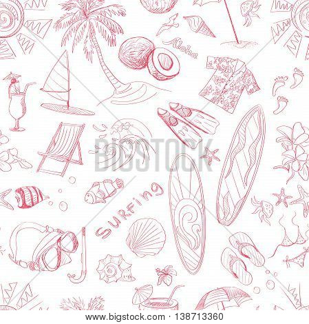 Pattern of doodle sketch Surfing icons. Isolated vector illustration