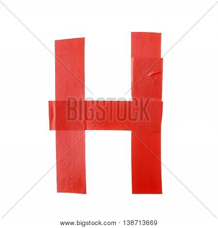 Letter H symbol made of insulating tape pieces, isolated over the white background