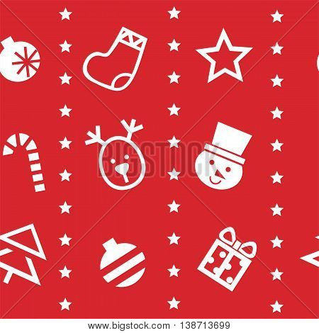 Simple seamless background with Christmas symbols. Vector