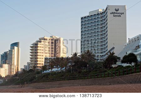 DURBAN SOUTH AFRICA - July 11 2016: Hotels and apartment buildings along the promenade at the Umhlanga Rocks beachfront