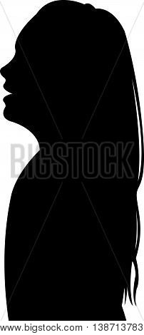 a girl head black color silhouette vector