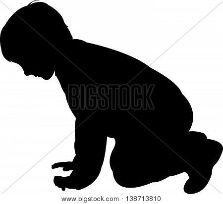 a child body, black color silhouette vector