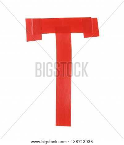 Letter T symbol made of insulating tape pieces, isolated over the white background