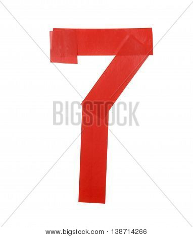 Number seven symbol made of insulating tape isolated over the white background