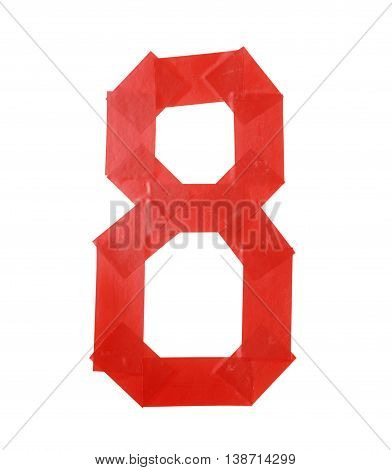 Number eight symbol made of insulating tape isolated over the white background