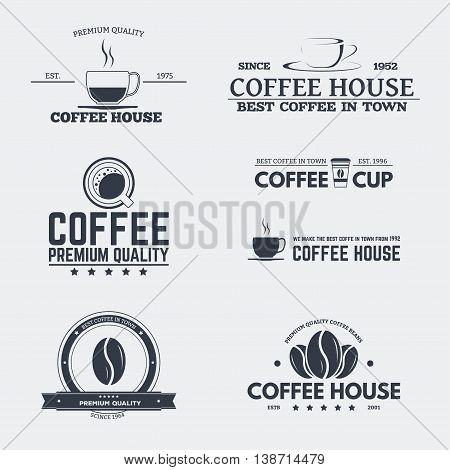 Set of retro logo and emblems badges and insignias labels and signs for cafe or coffee house with beans coffee paper cups.