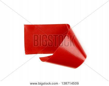 Single bent piece of insulating tape isolated over the white background