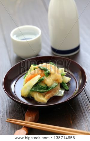 aoyagi nuta, trough shell foot and wakegi green onion with vinegared miso dressing, japanese cuisine