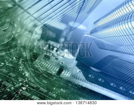 Digits buildings and device - abstract computer background in greens and blues.