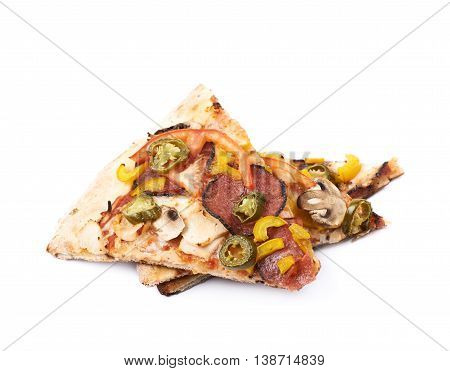 Two slices of a mexican pizza isolated over the white background