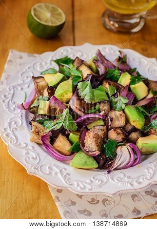 Roasted Eggplant(Aubergine) Salad with Avocado and Red Onion, Closeup