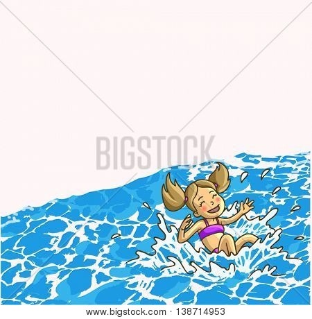 Happy cheerful little girl is jumping into the water or waterpool with watersprays. Vector Illustration.