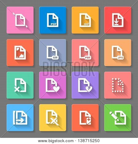Set of flat square icons with formats on gray background
