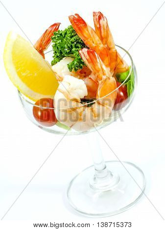 Fresh Steamed Shrimp In The Glass Isolate On White Background. Boiled Prawns With Vegetable Salad .