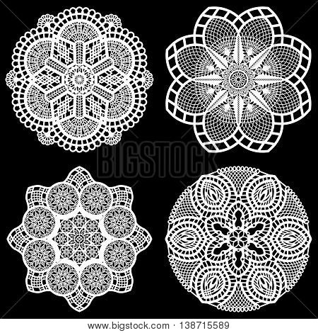 Set of design elements lace round paper doily doily to decorate the cake festive doily doily - a template for cutting lacy snowflake greeting element package vector illustrations
