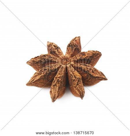 Single Chinese star anise seed isolated over the white background