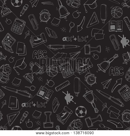 Back to School. vector seamless pattern with school elements isolate on dark background. Linear stile