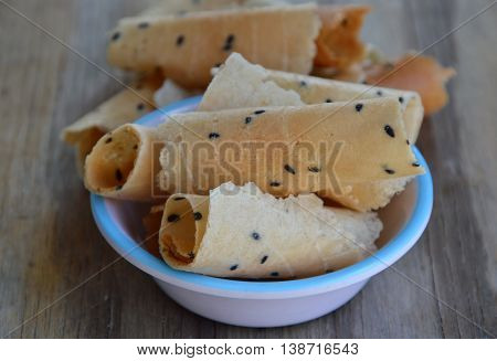 crispy rolled wafer traditional Thai dessert on cup