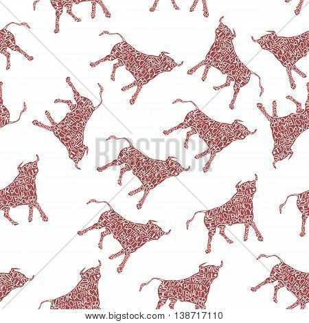 Typography monochrome vintage seamless pattern with bull silhouette, and hand drawn style font. Vector Illustration lettering background.