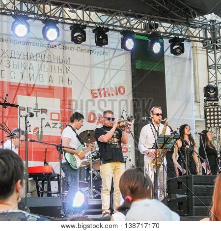 St. Petersburg, Russia - 2 July, The scene with the musicians, 2 July, 2016. Annual international festival of jazz and blues in St. Petersburg.