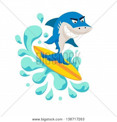 Surfer cool shark on wave. Sirfing monsters. Fun surf print with cute shark vector illustration. Comic sea character on surfboard. Water sports kid poster. Ride shark athlete