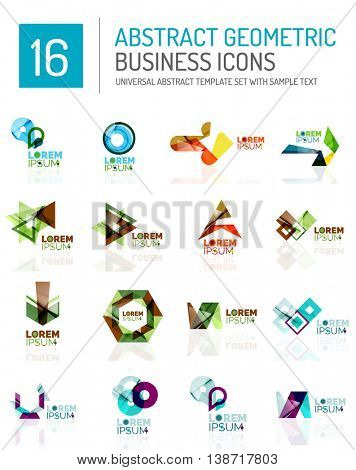 Abstract geometric business logo icon set. Colorful geometrical figure compositions with light effects - triangles circles rings arrows lines