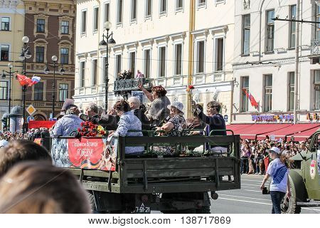 St. Petersburg, Russia - 9 May, The people on the benches in the back of a truck, 9 May, 2016. Memory Action