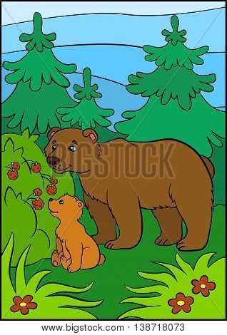 Cartoon Animals For Kids. Daddy Bear With His Little Cute Baby Bear.