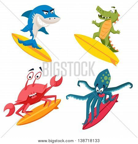 Surfer cool monsters. Sirfing shark, octopus, crocodile, crab. Fun surf print with cute animals vector illustration. Comic sea character on surfboard. Water sports kid poster. Ride athletes