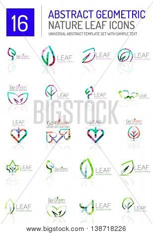 Geometric leaf icon set. Thin line geometric flat style symbols or logotypes. Nature green environmental concept, new life idea in various color variations. Eco love heart