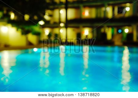 blue blur swiming pool light at night