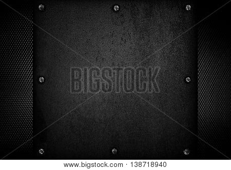 crude metal with mesh background