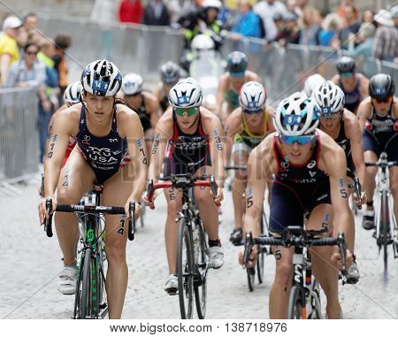 STOCKHOLM - JUL 02 2016: Group of american female triathlete cyclists Sarah True and Taylor Knibb and competitors in the Women's ITU World Triathlon series event July 02 2016 in Stockholm Sweden