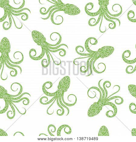 Vintage seamless pattern with typography monochrome octopus silhouette, and hand drawn style font. Vector Illustration lettering background.