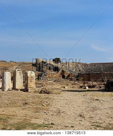 Ruins in the ancient town Hierapolis Turkey