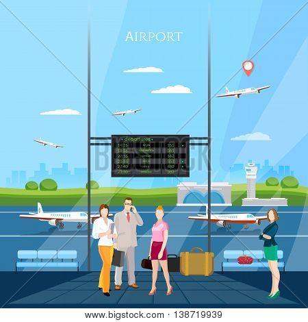 Airport interior people in waiting room runway international airlines vector illustration