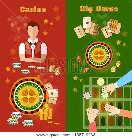 Casino and gambling banner games symbols roulette baccarat jackpot croupier vector illustration