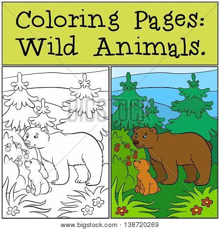 Coloring Pages: Wild Animals. Daddy Bear With His Little Cute Babe Bear.