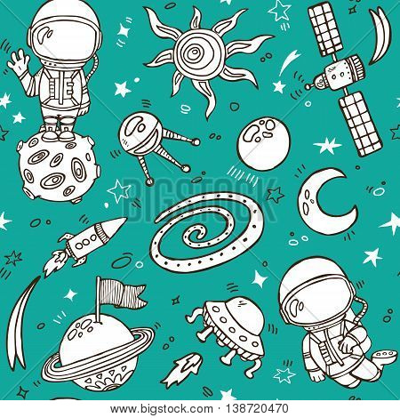 Vector illustration of doodle hand drawn seamless pattern with astronauts, planets, stars, spaceships for wallpapers, scrapbooking, web page backgrounds,textile