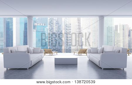 Lounge Interior With Singapore View