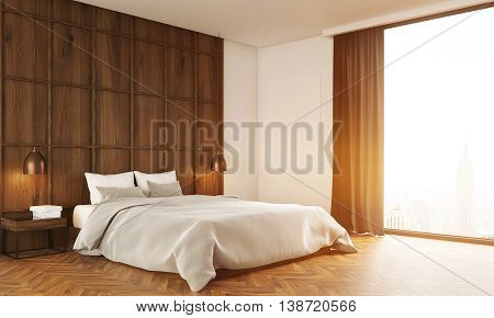Bedroom With Big Bed And Large Window